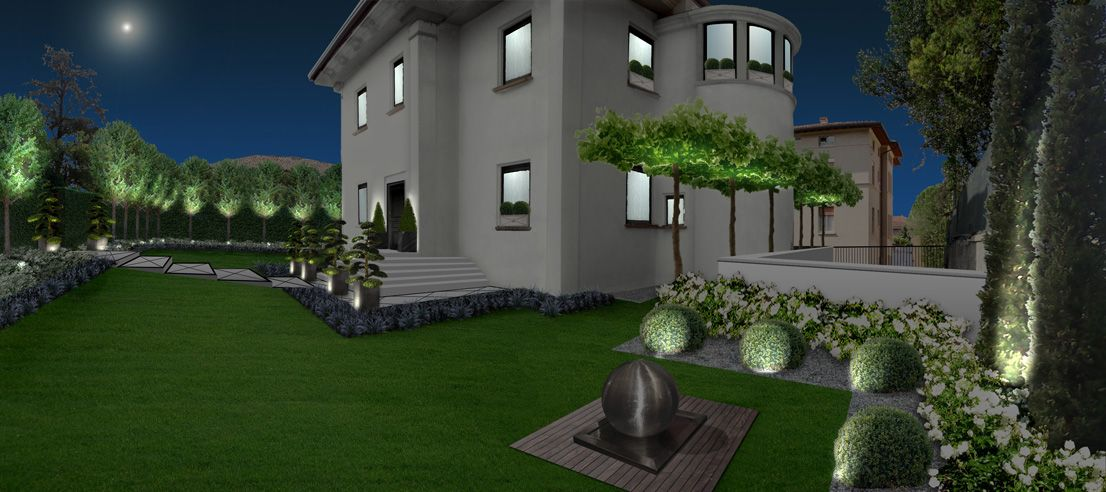 Brescia. Private Garden. Neutral colors, modern traits and essentiality.