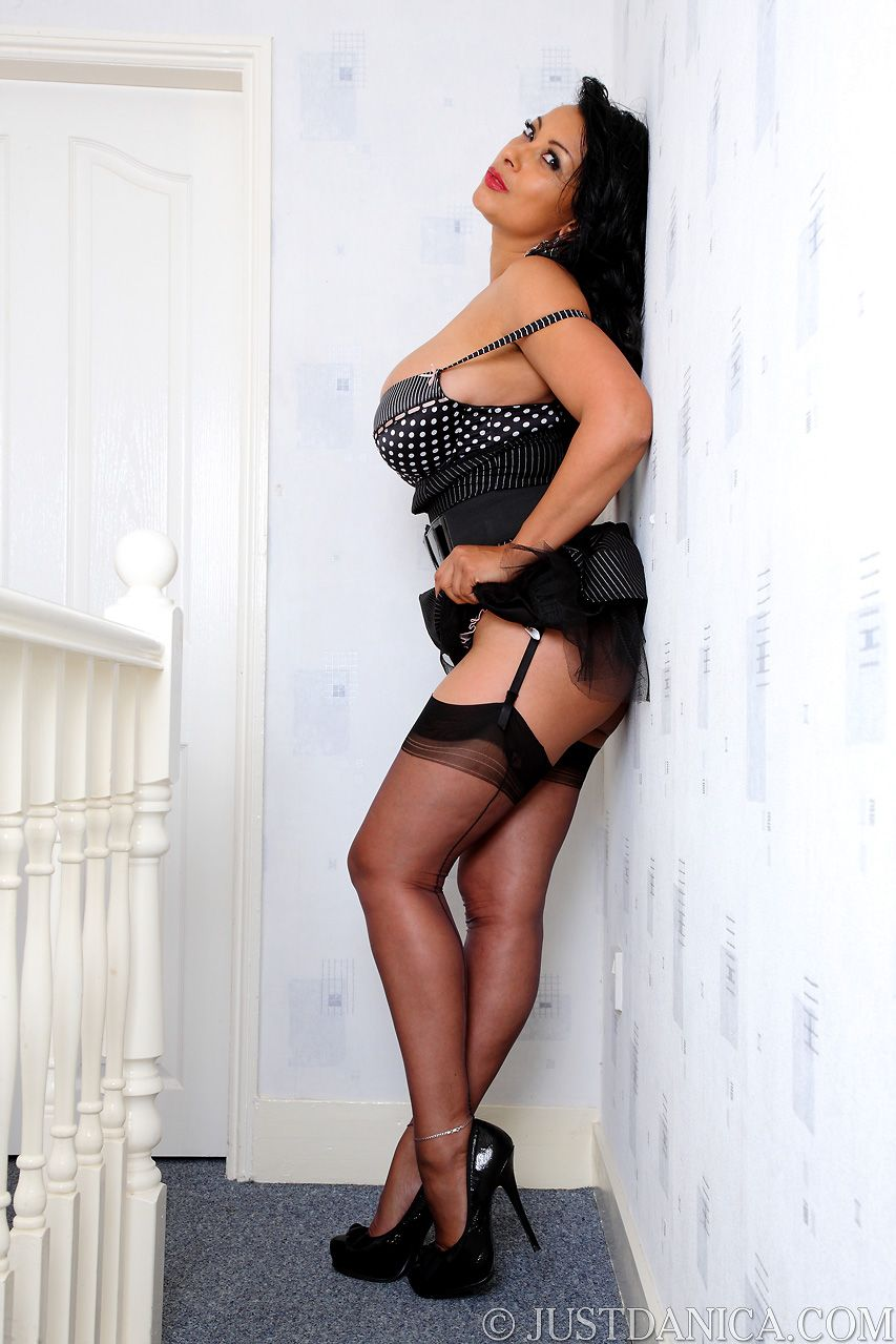 Busty mature danica in open girdle and stockings 6