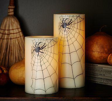 Spider Wax Flameless Pillars #potterybarn