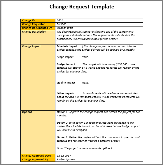 Sample Change Request Template  My Work    Template