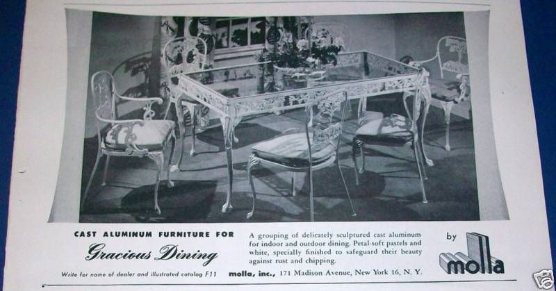 1950 molla cast aluminum furniture dining set ad vintage wrought