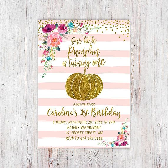 Our little pumpkin is turning one pink gold pumpkin first birthday our little pumpkin is turning one pink gold pumpkin first birthday invitation pink sweet pumpkin invite fall pink and gold invitation 105 filmwisefo