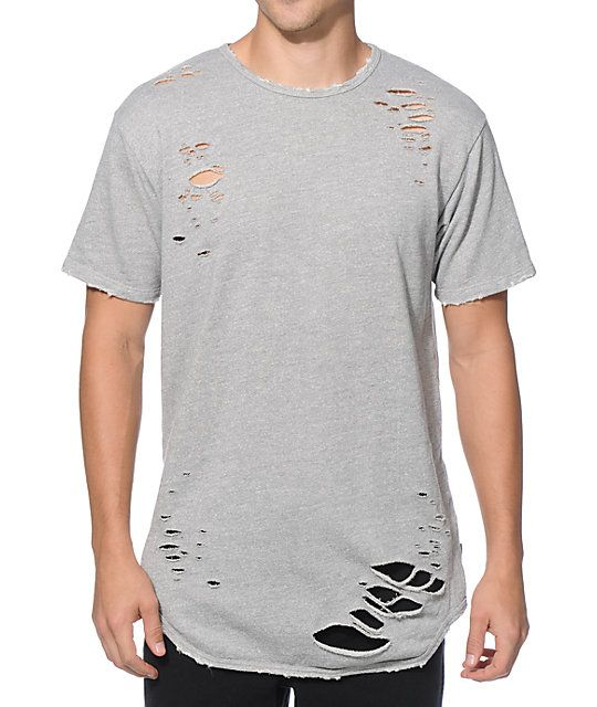 Update your street style with a heather grey French terry construction that  features laser cut holes with grinding accents around the edges for a  distressed ...