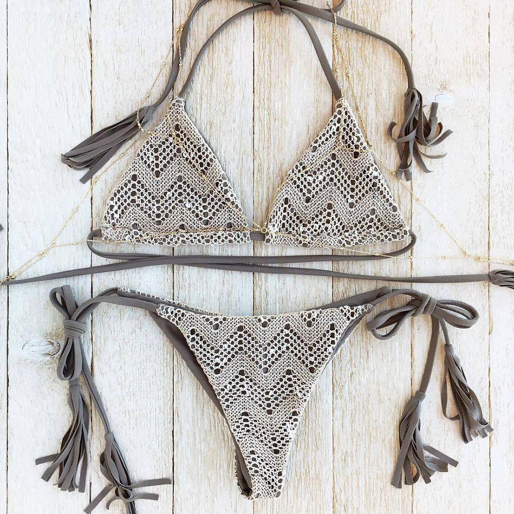 4086617e8269f Sexy Women Bikini Pure Tassel Bikini Set Push Up Bathing Suit Beach Swim  Wear Swimsuit -. Crochet ...