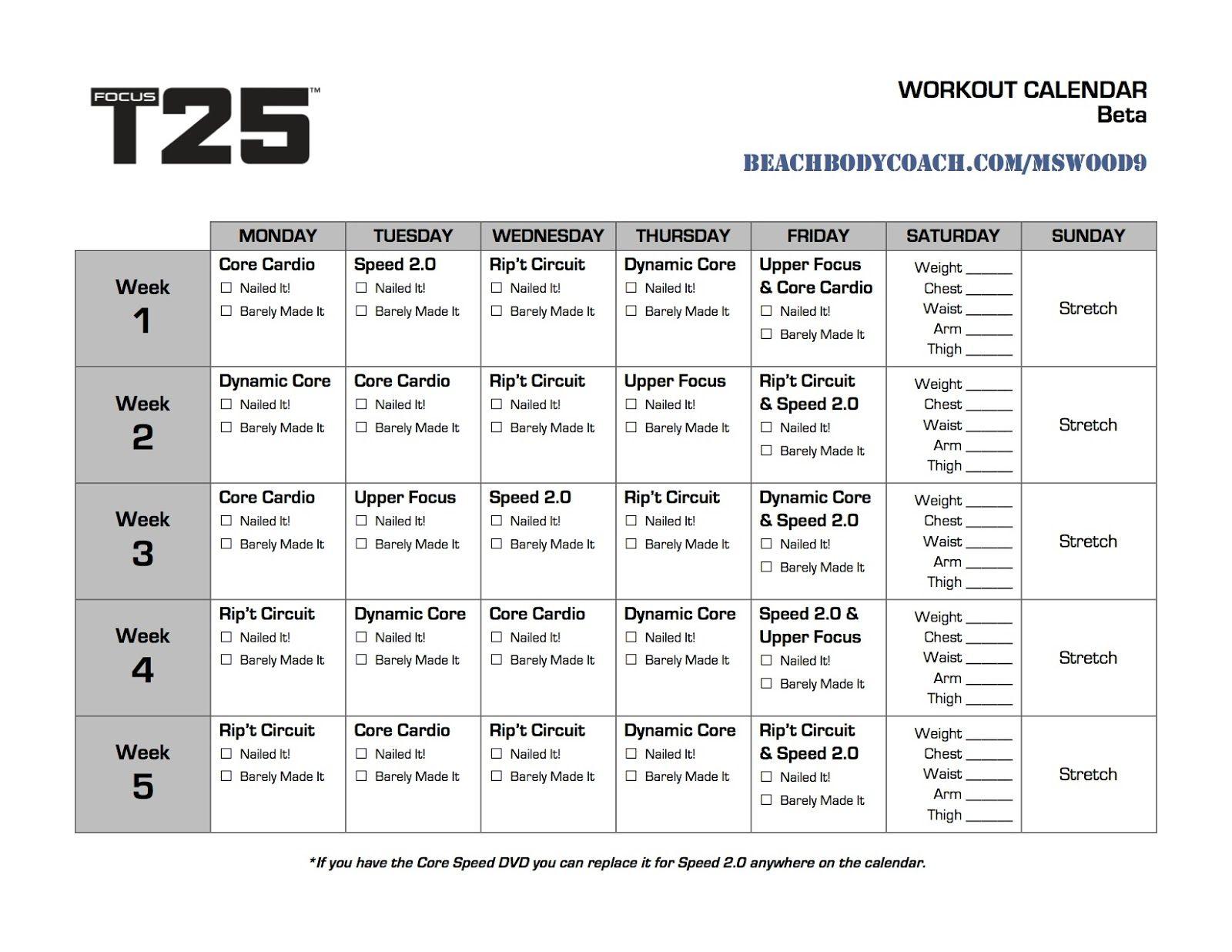 T25 Work Out Calendar Printable T25 Workout Calendar, Focus ...