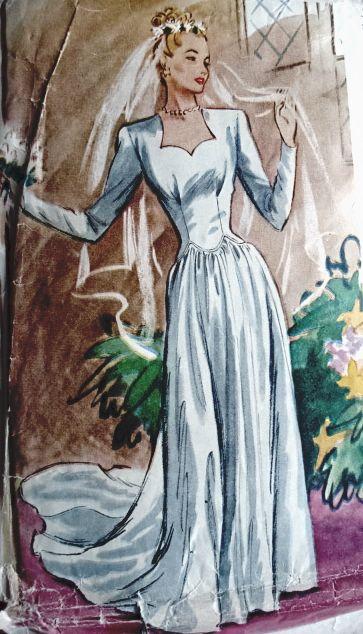 1940s Beautiful Bridal Gown Wedding Dress Pattern McCall 6353 ...
