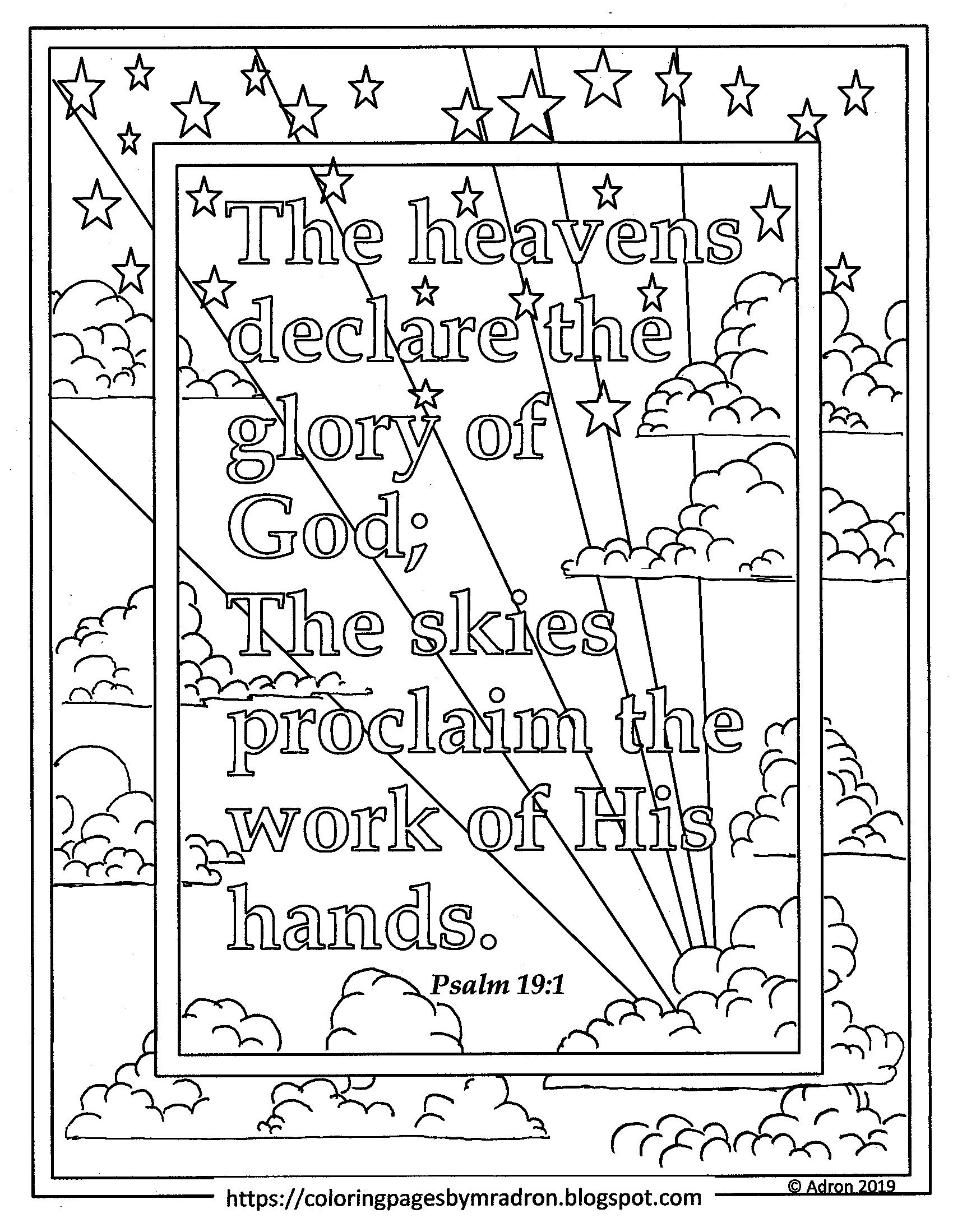 Free Print And Color Page Psalm 19 1 The Heavens Declare The