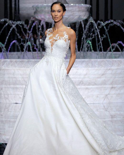 pronovias low v-neck wedding dress spring 2018   Martha Stewart ...