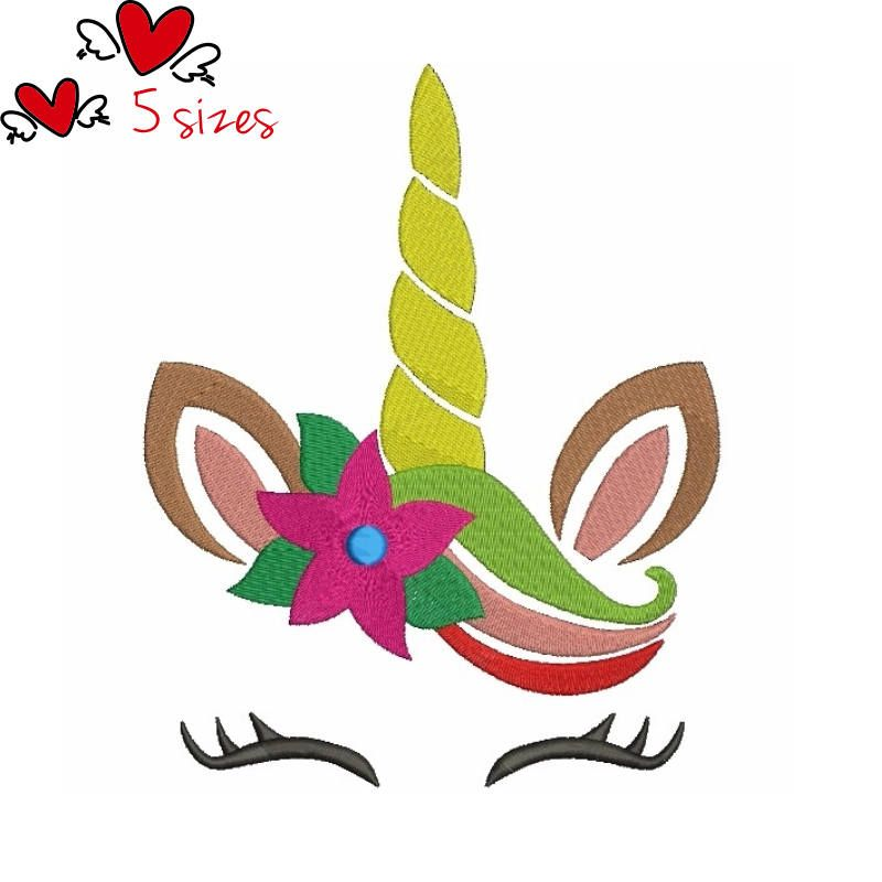 Unicorn Face Embroidery Designs Christmas Floral Pattern Digital