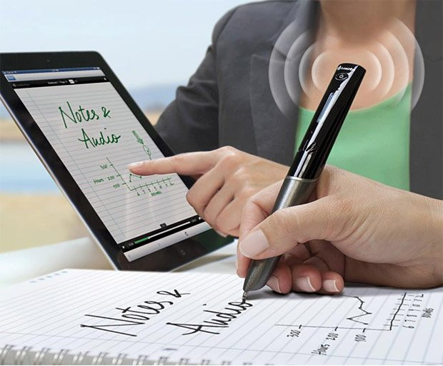 While you write notes, this pen digitally saves your notes and records audio //…
