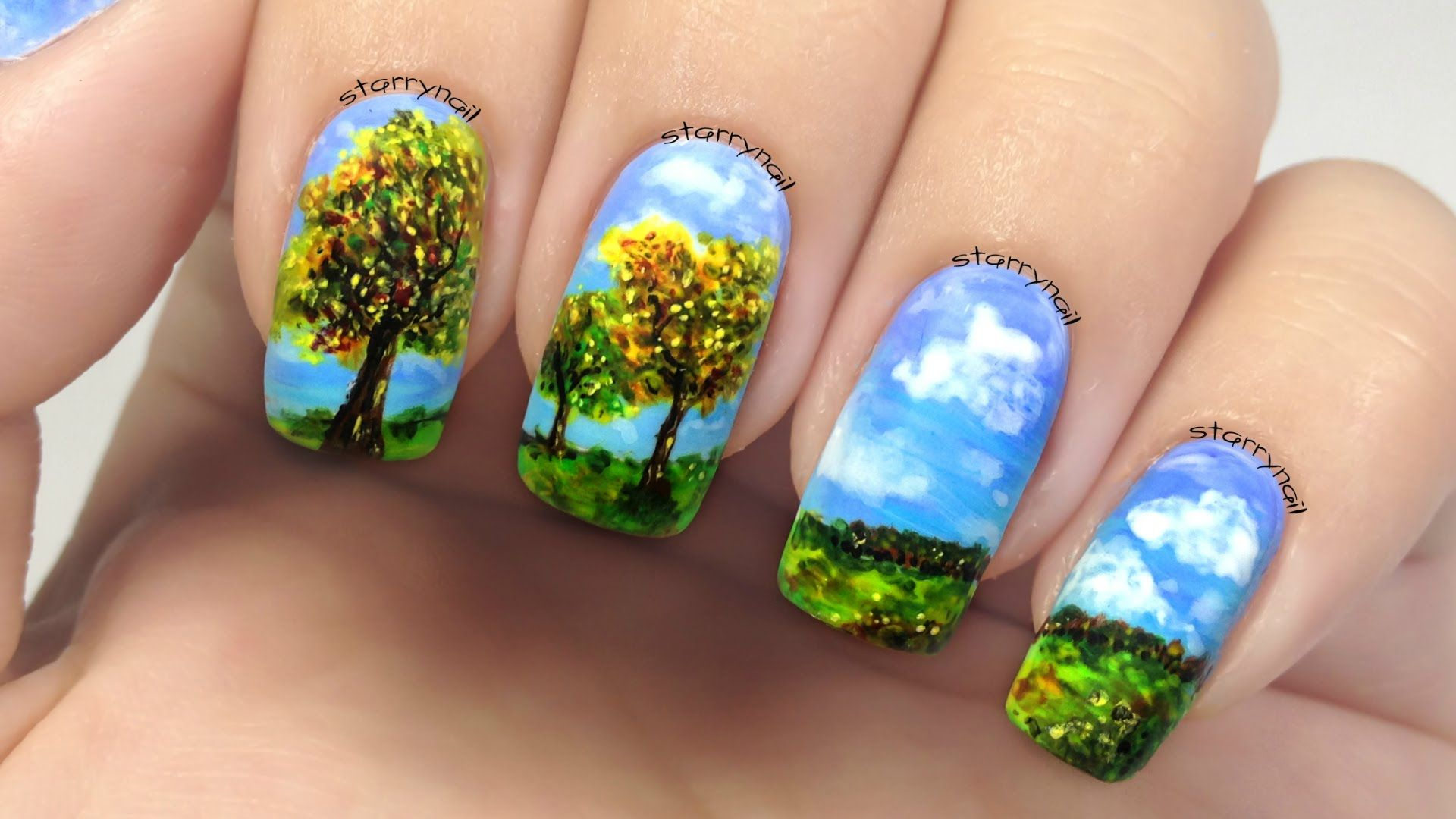 Mountain Landscape Freehand Nail Art Tutorial Nature T