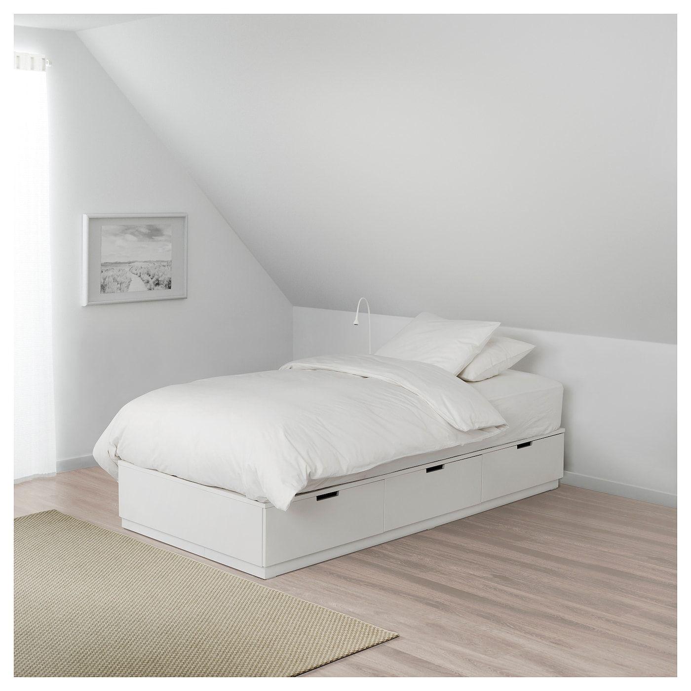 Nordli Sengestel Med Opbevaring Hvid 90x200 Cm Diy Bed Frame Ikea Ideer Sengeramme