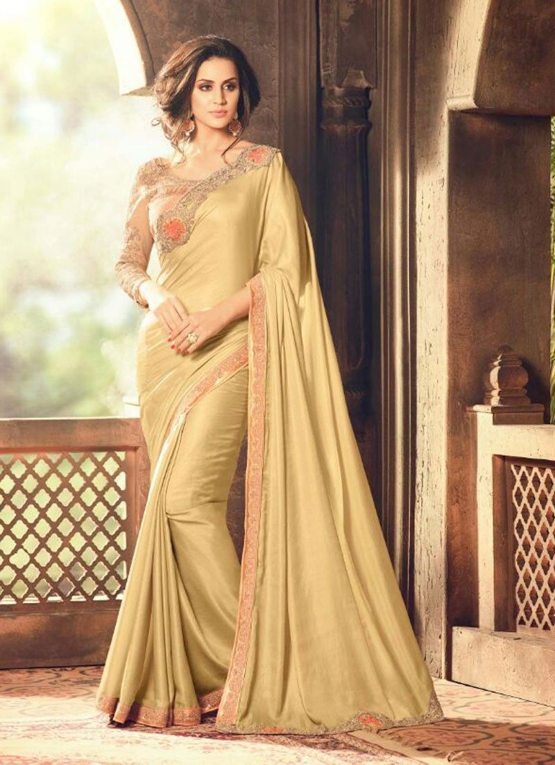 96ef399056 Golden wedding wear embroidered saree with designer blouse | blouses ...