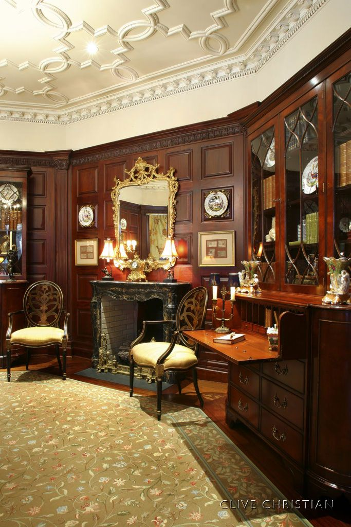 Clive christian regency study in antique mahogany home for Robert clive kitchen designs