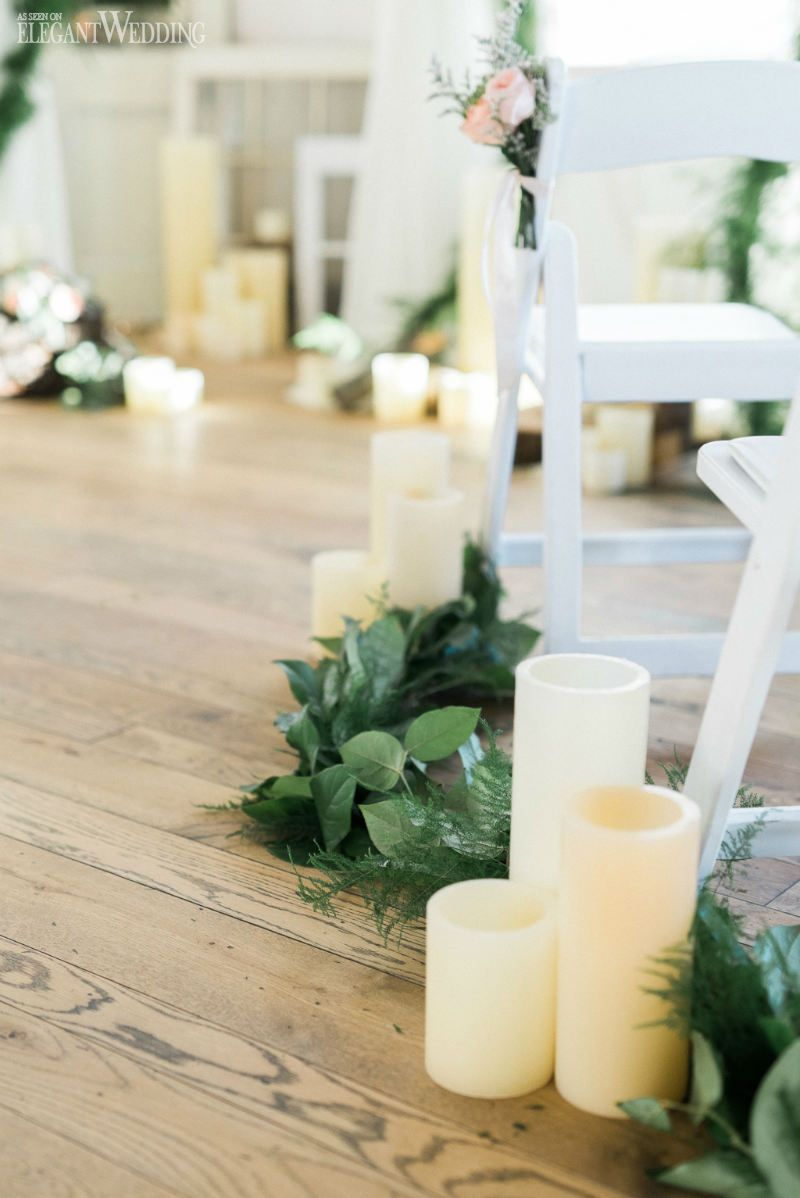 Natural Wedding Aisle Greenery Candle Lined Soft Flowers Rustic Ideas RUSTIC SPRING WEDDING WITH NATURAL TOUCHES Elegantwedding
