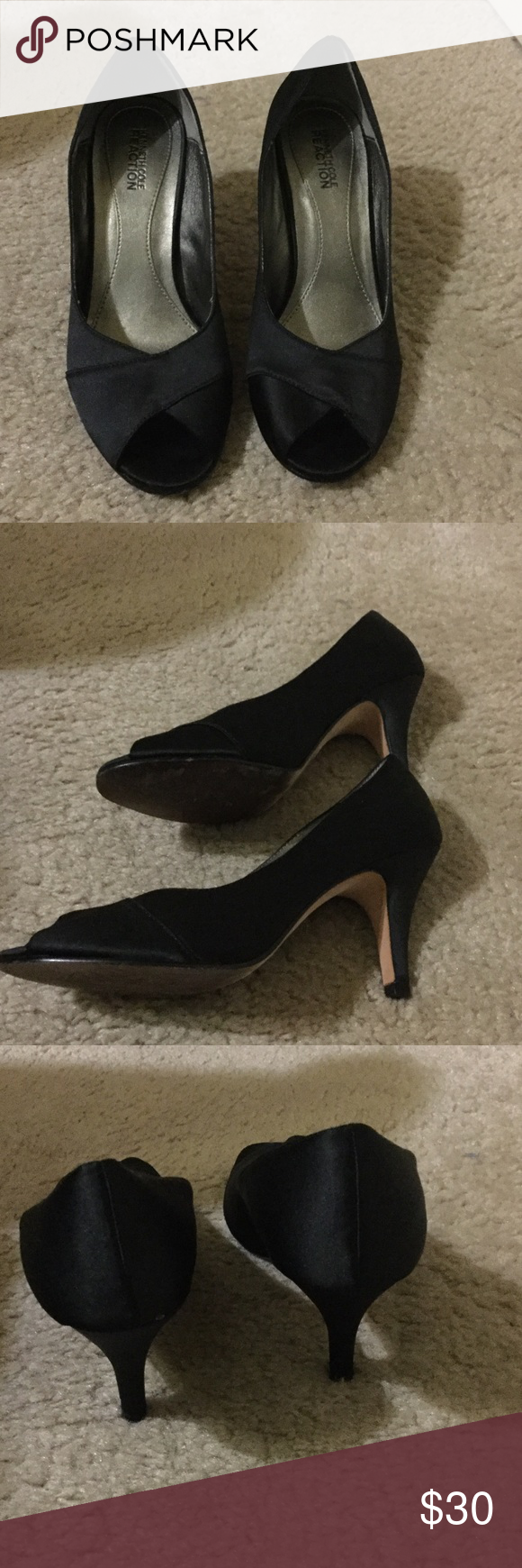 🌷🍃SALE🌷🍃KENNETH COLE Black Peep Toe Pumps 7.5 KENNETH COLE REACTION Black Satin fabric upper leather sole heeled pumps. Open toe. Size 7 1/5 M. Kenneth Cole Reaction Shoes Heels