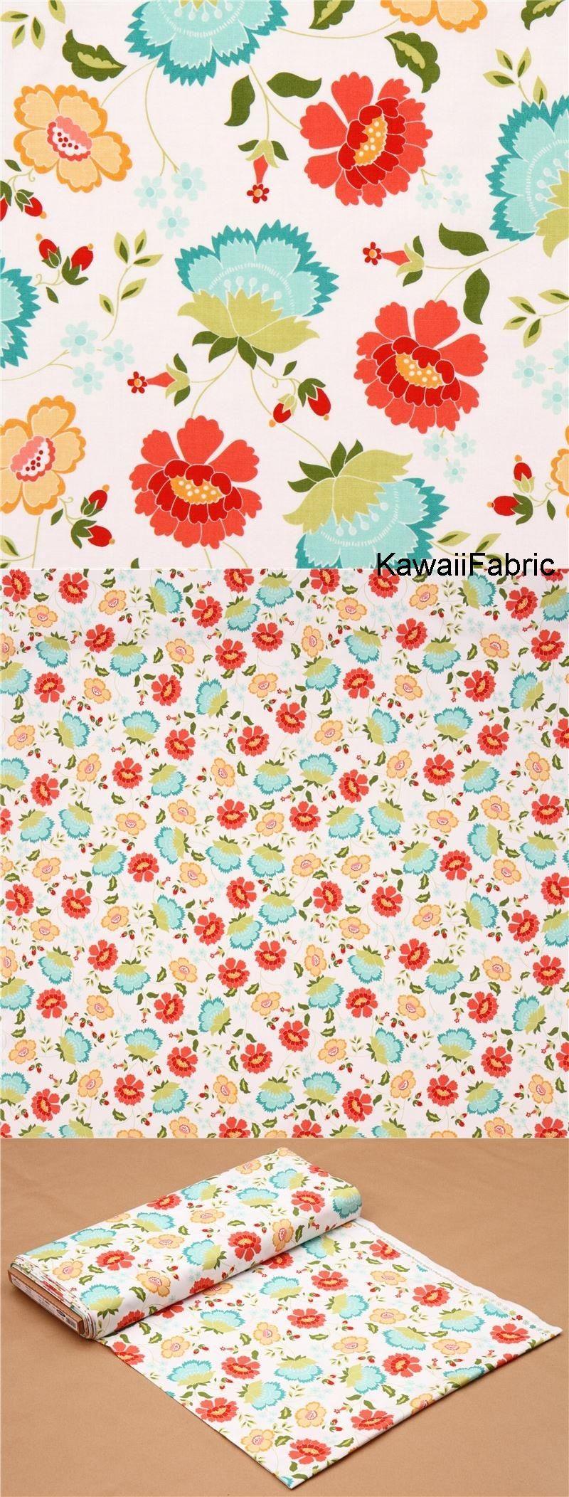 Tela blanca floral flor colores verdiazul coral amarillo hoja de ...