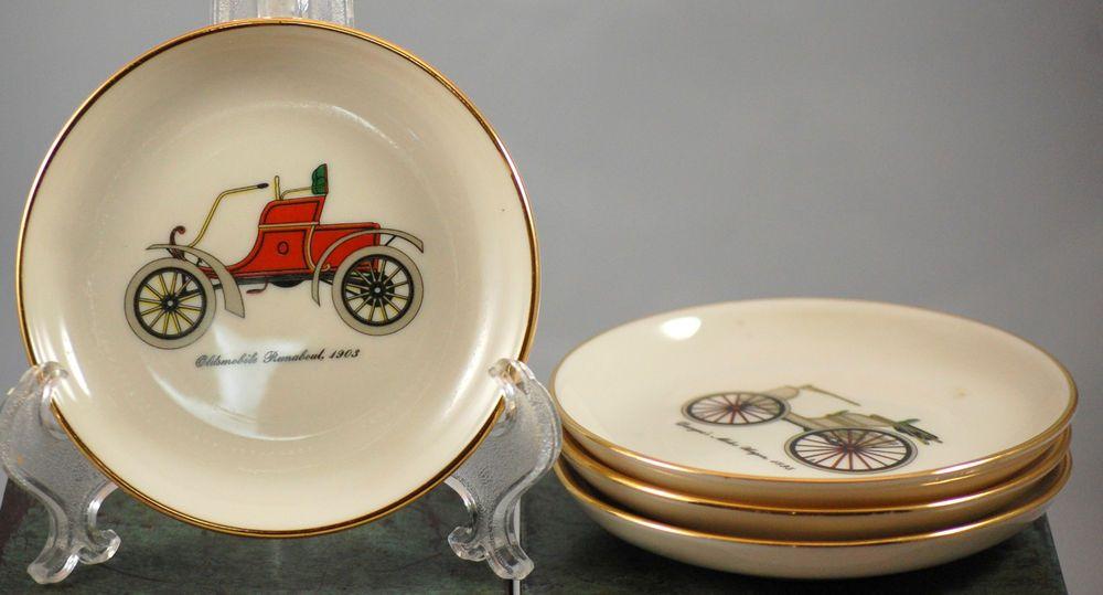 Set Of 4 Vintage Automobile Mini Porcelain Plates Ridgewood China Co Porcelain Plates Plates On Wall Plates
