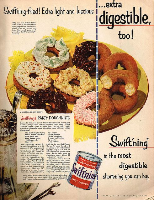 "If we're really lucky mom might let us eat some doughnuts made from ""extra digestible"" shortening!"
