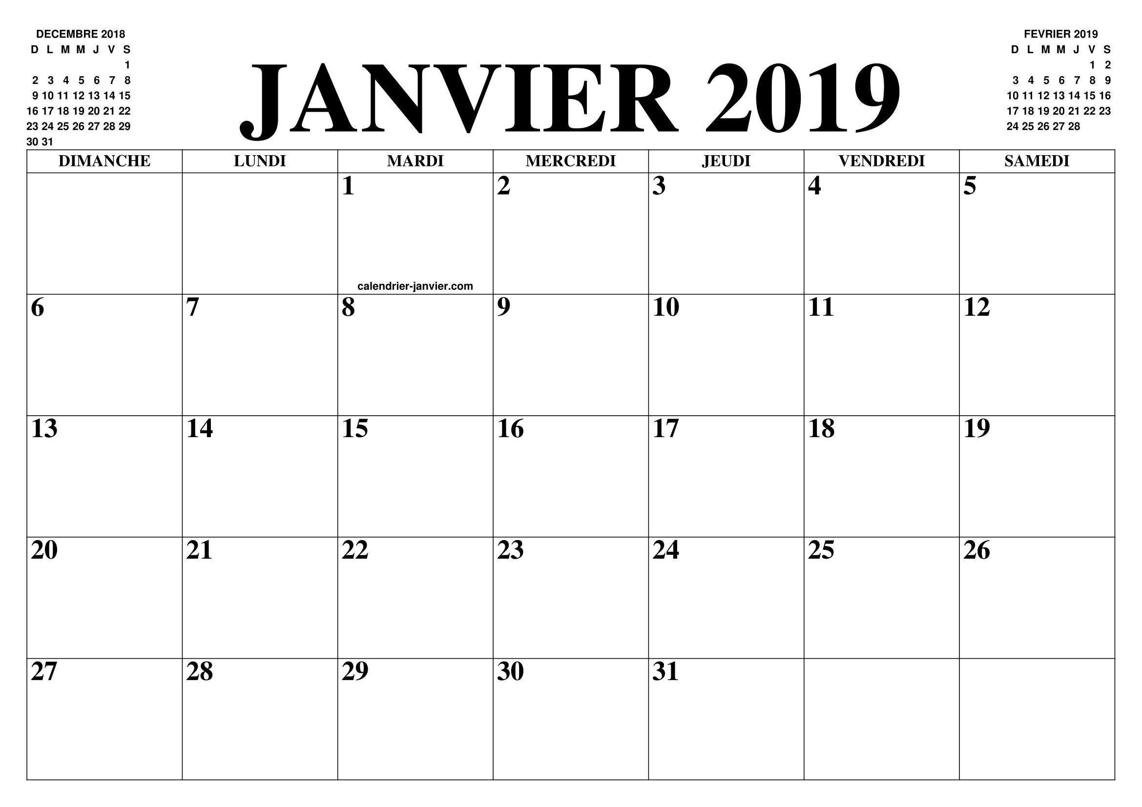 Janvier 2019 Calendrier A Imprimer Calendrier Mois Calendrier