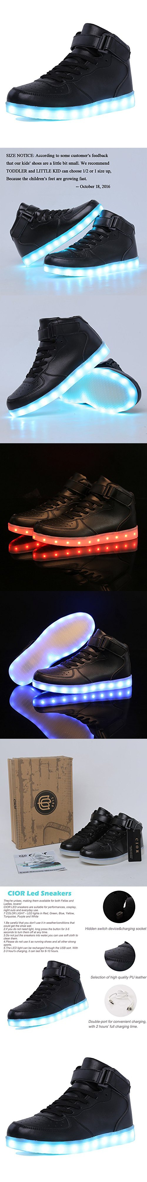 CIOR Kids Boy and Girl s High Top Led Sneakers Light Up Flashing