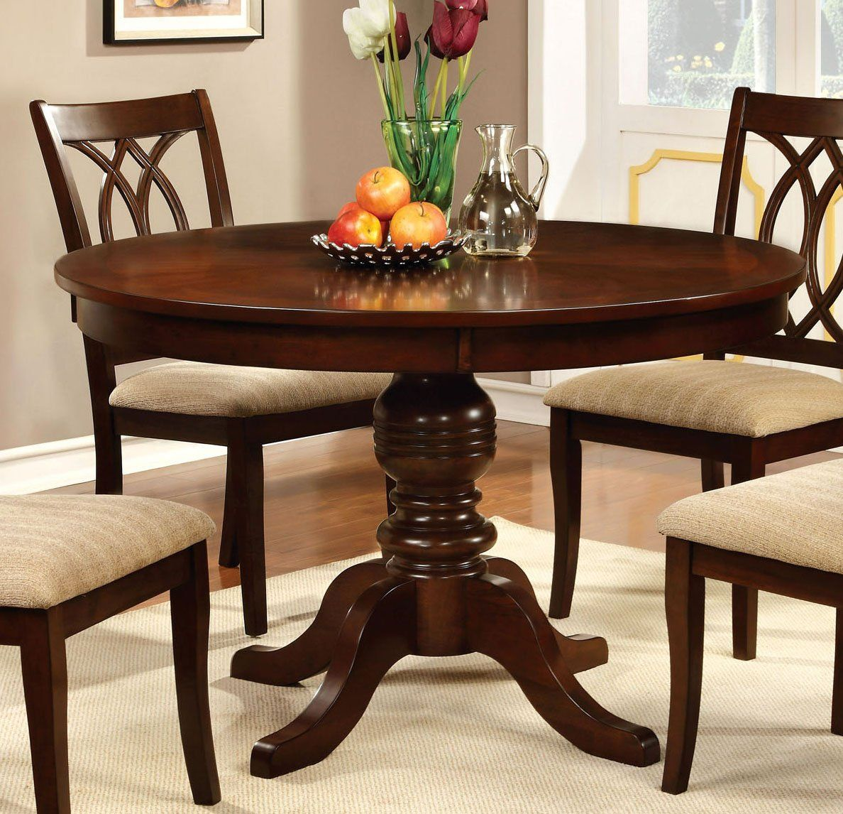 Outstanding Transitional Dining Room Suitable For Any Home: Furniture Of America CM3778RT Carlisle Brown Cherry Round