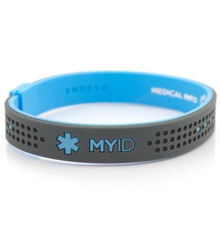 Boys Medical Id Bracelets Myid Bands Sport Blue And Gray Bracelet
