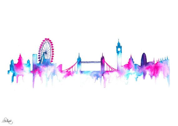 London Cityscape Skyline Watercolor Style Silhouette Art Print Big Ben Eye And Bride Pink Purple