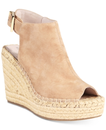 c281afedcc6 Kenneth Cole New York Women s Olivia Espadrille Peep-Toe Wedges - Tan Beige  8.5M