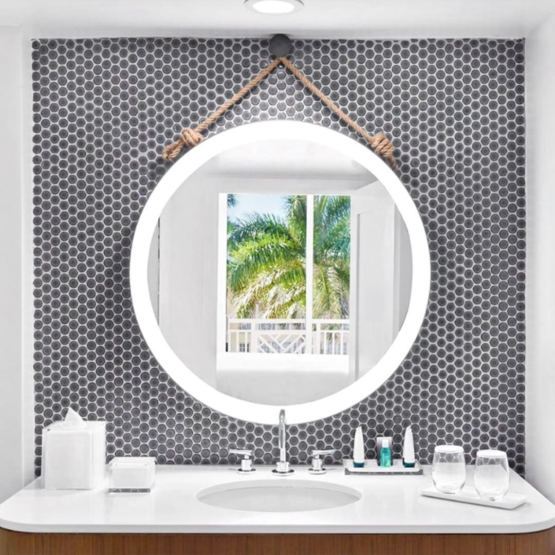 Let S Take A Mental Trip Here To Escape A Case Of The Mondayblues This Design Is Everything A Beach Penny Tiles Bathroom Penny Round Penny Round Tiles [ 1080 x 1080 Pixel ]