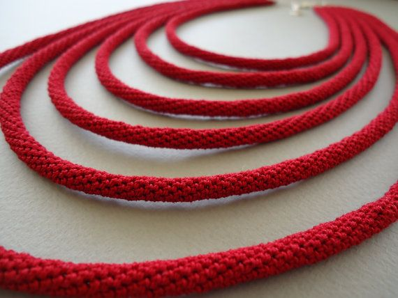 Red cotton crocheted tubes by PopisBOUTIQUE on Etsy, €60.00