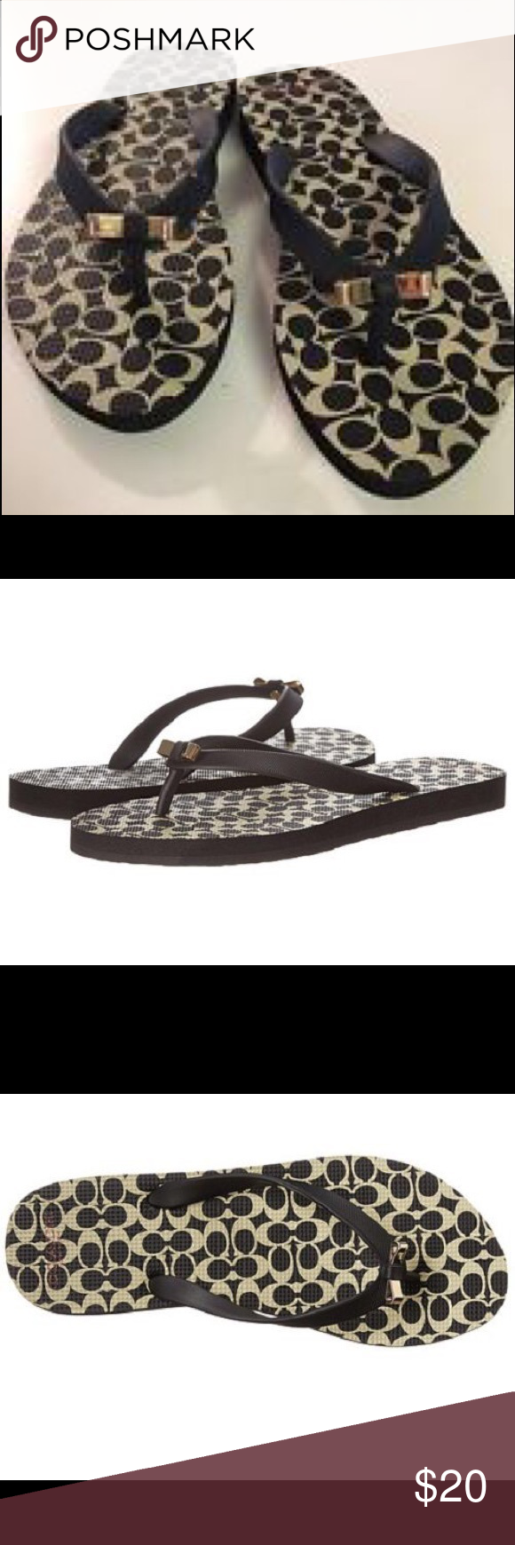 1945d9d144b3 NIB Coach AMEL Black   Milk Flip Flops with Bows New in Box. Coach AMEL  Thong Sandals. Black   Milk Signature C Logo bottom with Engraved Gold Bow  details.