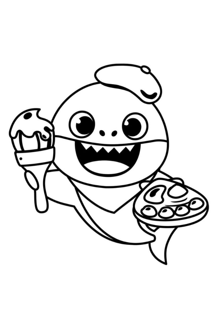 Baby Shark Painter Shark Coloring Pages Coloring Pages Bear Coloring Pages