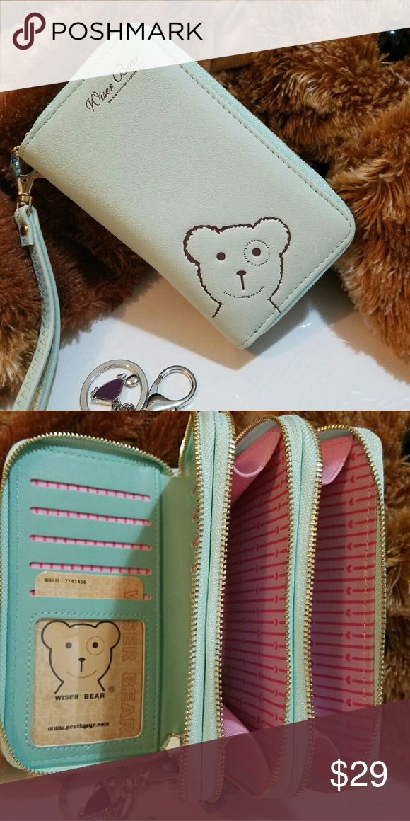 """""""Wiser Bear """" Phone Wrist Wallet  (Green) 2017 Fashion Women Wrist Wallet ??Cute Bear Lady Handbag Clutch Zipper ??Multifunction Coin Purse ??Universal Phone Case Cover For iPhone 7 6S Samsung Galaxy S7 S6 Edge   ??Description Ingredient: High Quality PU Leather Size: 15 cm x 9.6 cm x 4.5 cm  (L x W x H) Note: Cellphones below 5.5 Inch  Structure: 3 Zipper Pockets 9 Credit Card Slots 1 Photo Frame Package Include: 1 x wallet    1 x Strap Wiser Bear  Bags Clutches & Wristlets"""