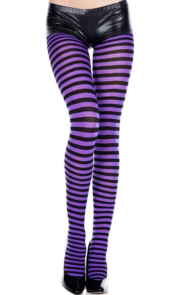 Opaque Striped [Black/Purple] | PANTYHOSE