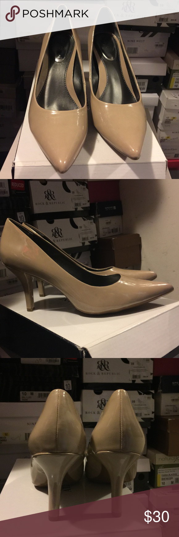 Cleaning my closet Brand new. Alfani Jacee Nude patent leather pumps. Size 10. 3 inch heel. Alfani Shoes Heels