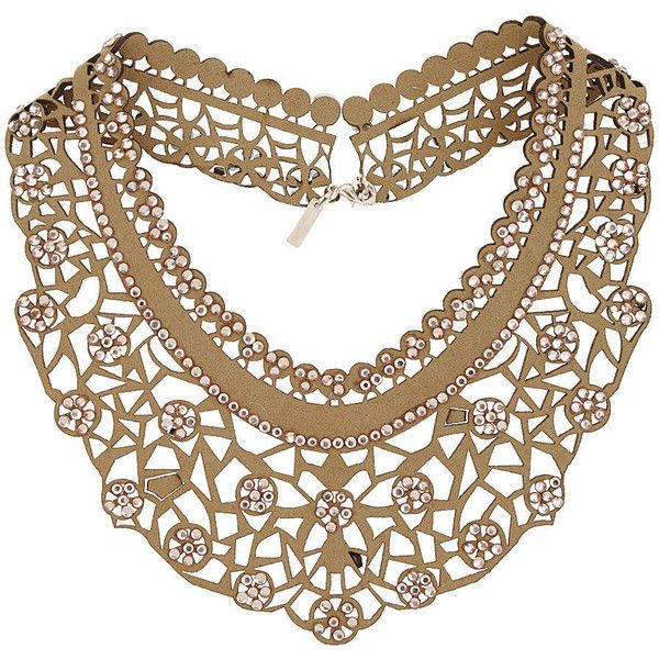 TopShop Fabric Cut-Out Collar Necklace (€21) ❤ liked on Polyvore featuring jewelry, necklaces, accessories, beige, topshop, rhinestone collar necklace, collar necklace, topshop necklace and collar jewelry
