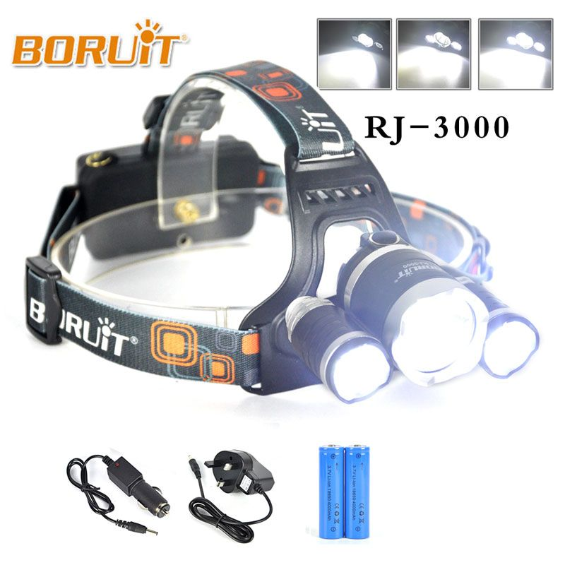 Boruit Brand Lantern Rj 3000 8000lm Xml L2 R5 Headlamp Led Light Headlight Hiking Camping Lampe Frontale Head Tor Headlamp Rechargeable Flashlight Flashlight