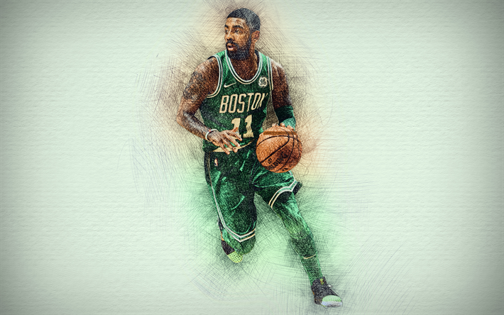 Download wallpapers 4k, Kyrie Irving, green uniform