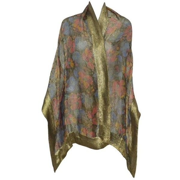 Preowned Liberty Of London 1920s Vintage Lame Shawl (74.630 RUB) ❤ liked on Polyvore featuring accessories, scarves, multiple, floral shawl, shawl scarves, vintage shawl, floral scarves and patterned scarves