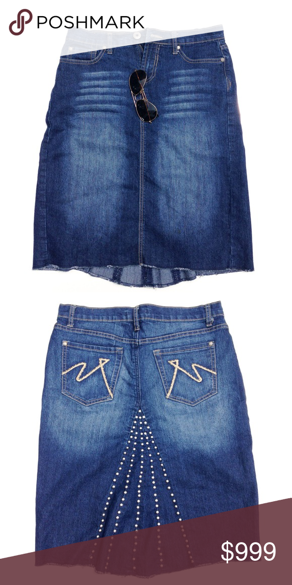 90s Are Back Skirt Knee Long Jean With Cool Metal Detail In