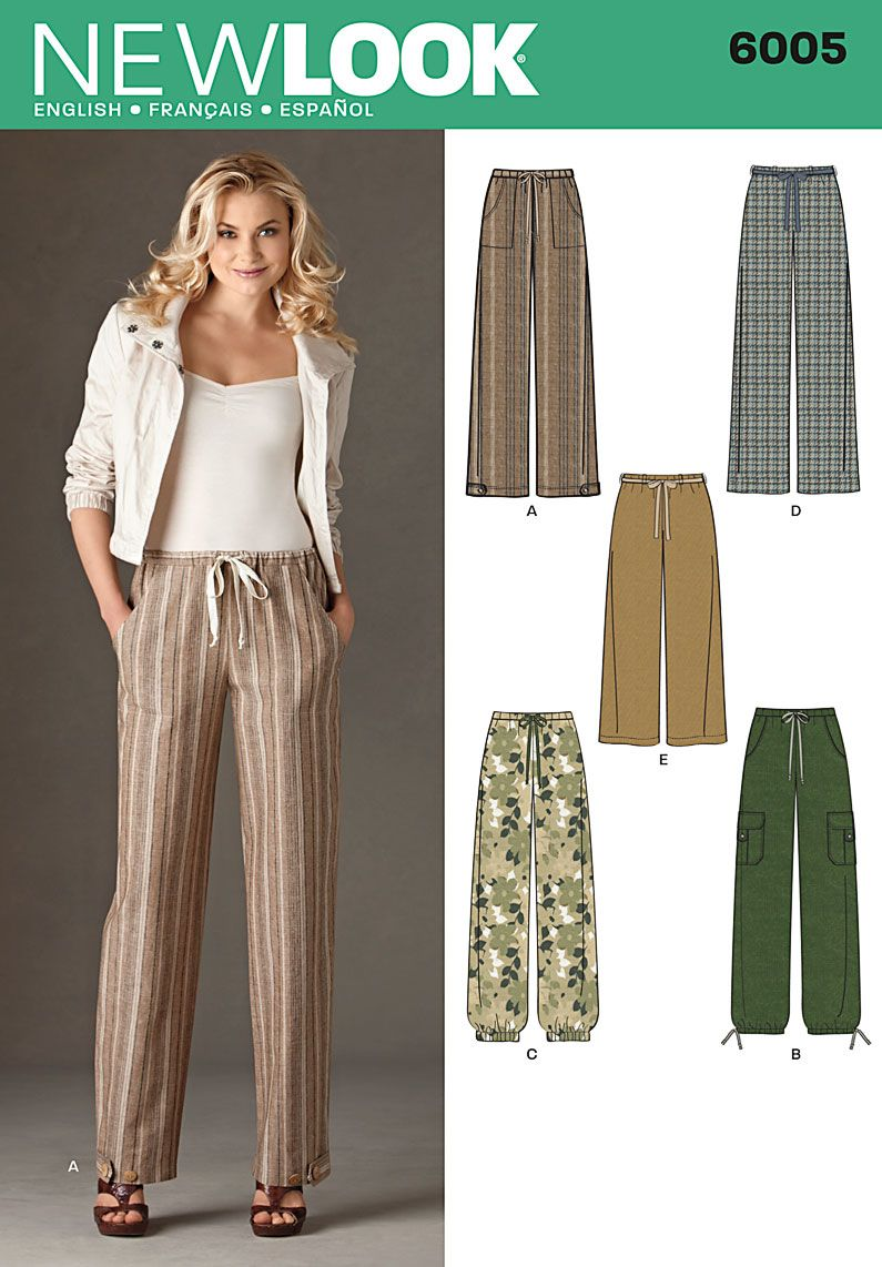 Womens pull on pants with pockets Sewing Pattern 6005 New Look - View D with pockets from View A