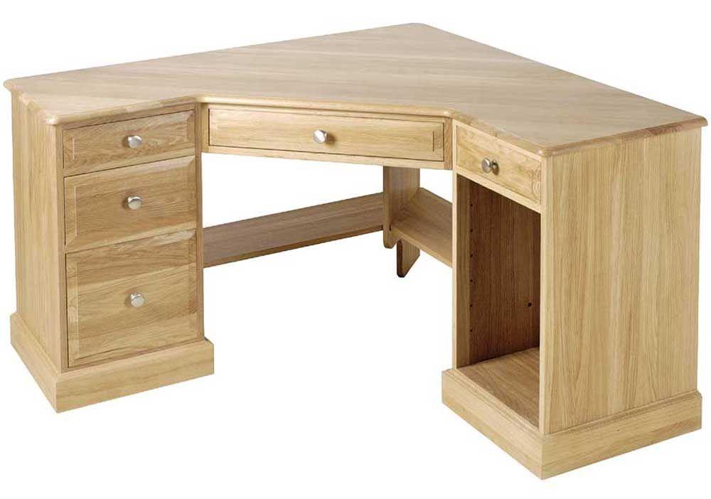 Unfinished Oak Corner Computer Desk With Rack Home Desk