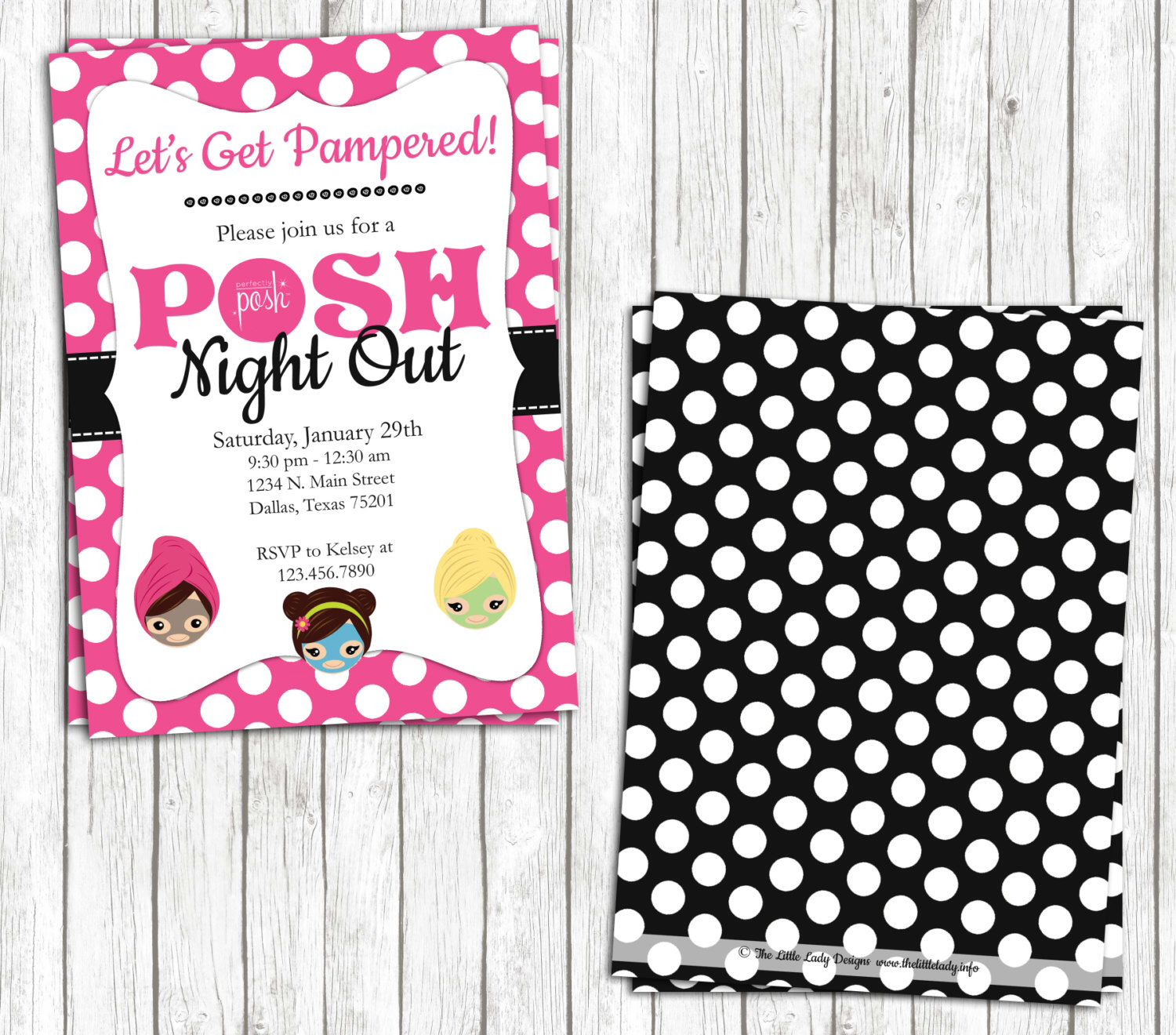Diy Printable Perfectly Posh Night Out 5x7 Invite - Girls Night Out ...