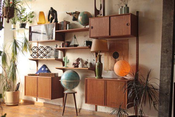 H G Furniture Denmark Teak Wall Unit Cado System Modular Shelves   Love The  Globes And Plants