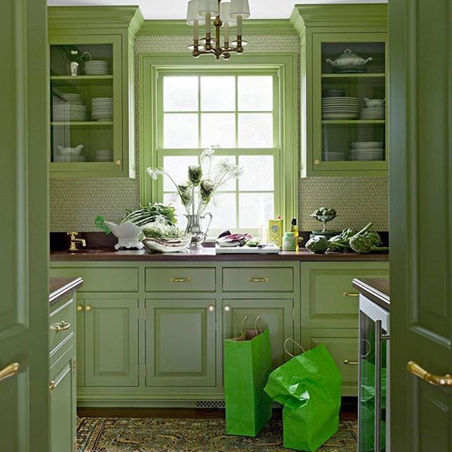 Green Is Good How Lovely Is This Celery Hued Kitchen By Megbraffdesigns And That Rug Repost Green Kitchen Cabinets Green Kitchen Green Cabinets