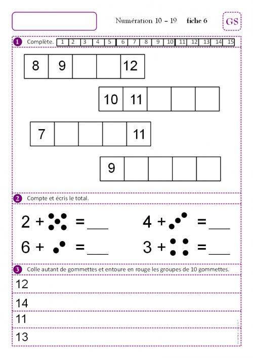Fiches de num ration gs math exercices cp maths - Addition grande section ...