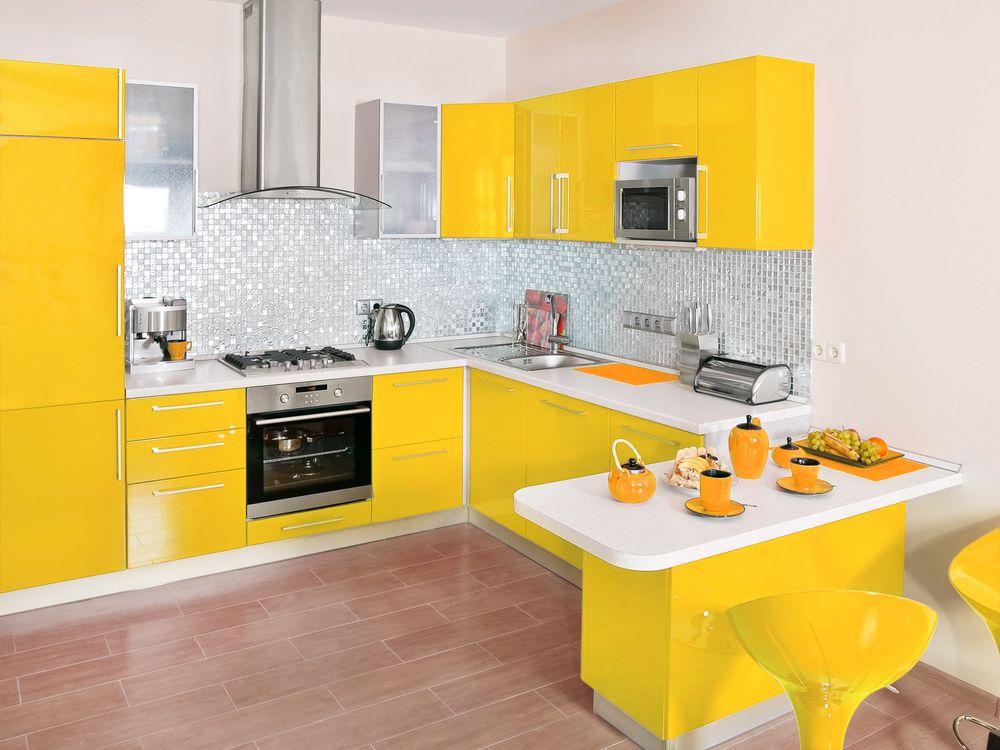 Wohninspiration Gelb Kueche Küchendesign