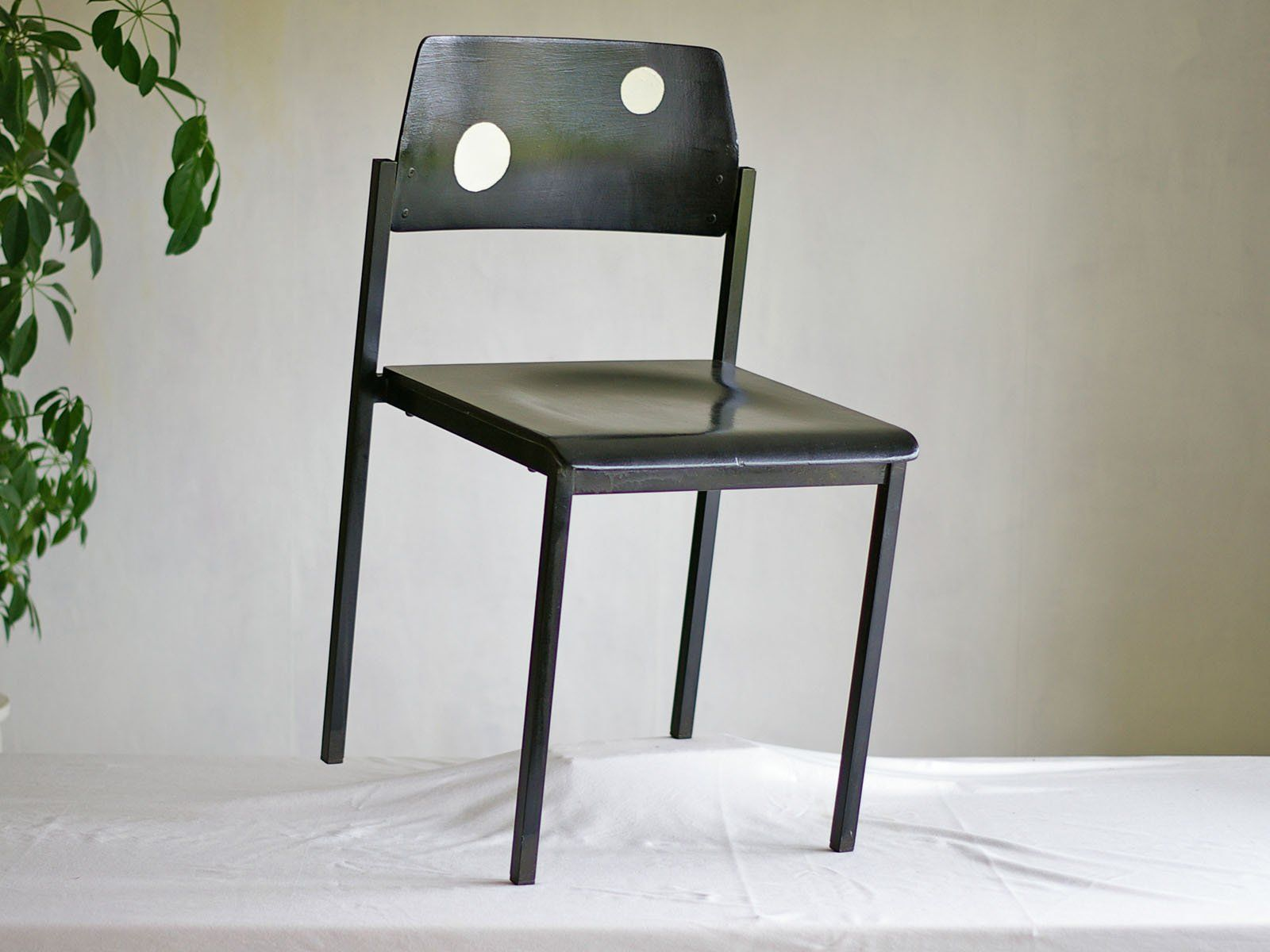 Wooden Chair With Metal Frame Black Chair Retro White Dots