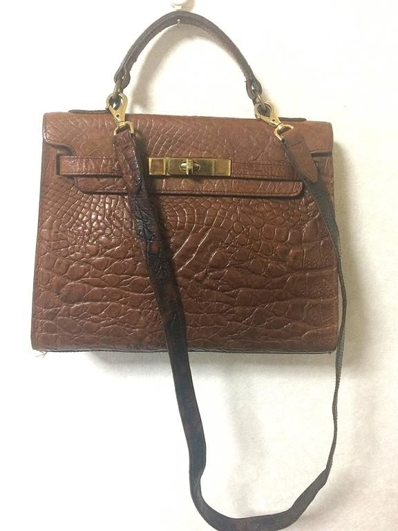 Mulberry Vintage Mulberry Croc Embossed Black Leather Kelly Bag.classic Bag By Roger Saul 9DuCVYn